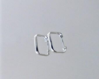 Earrings - square hoops in sterling silver