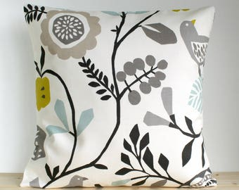 Scandinavian Pillow Cover, Grey Cushion Cover, Folk Pillow Sham, Throw Pillow Cover, Sofa Pillows, Cotton - Folk Doves Chartreuse