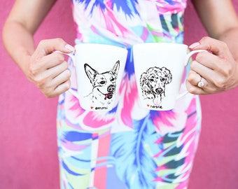 Custom Personalized Hand Drawn Dog Portrait Mug - Set of 2