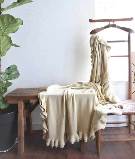 pretty ruffled beige tan cream blanket throw