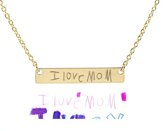Actual handwriting necklace - name necklace - signature necklace - gold bar necklace - personalized mom necklace - christmas gift for mom