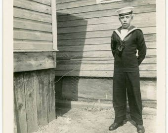 "Vintage Photo ""Little Sailor Boy"" Snapshot Antique Black & White Photograph Found Paper Ephemera Vernacular Interior Design Mood - 13"