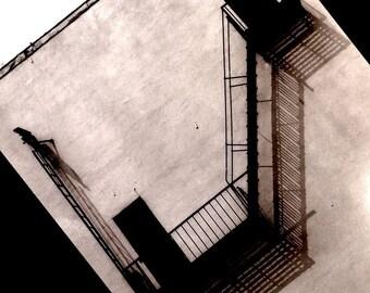 Fire Escape 3, Black and White Fine Art Photograph vintage monotone architectural urban modern art photography