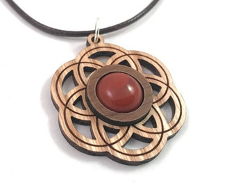 Red Jasper and Wood Seed of Life Pendant - Natural Sustainable Wooden Necklace with 12mm Genuine Gemstone - Walnut on Oak