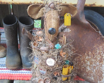 DEER HEAD Rusty SPRING ~ Gifts for Him~ Made In Michigan~ Up cycled~ Deer~ Woodland~ Hunter~ Deer Hunter~ Man Cave~