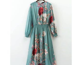 Women Bohemian Vintage Floral Blue Dress, Elastic Waist Dress, Blue dress, long sleeve, spring dress, Boho Green Dress, flower printed dress