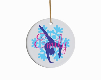 Personalized Gymnast Ceramic Christmas Ornament 2017 Holiday Christmas Present Gift Stocking Stuffer Tree Gymnastics Ornament Custom Colors