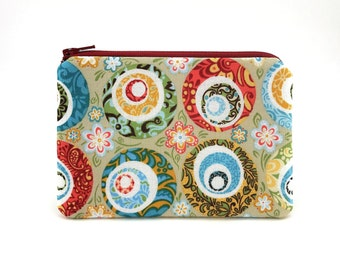 Floral Zipper Pouch - Coin Purse - Small Wallet - Flowers Change Purse - Womens Wallet - Zipper Bag - Coin Wallet - Padded Pouch