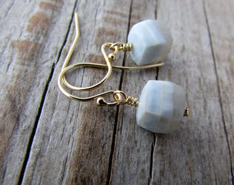Blue Lace Agate Earrings, faceted gemstone cubes, gold dangle earrings, periwinkle blue