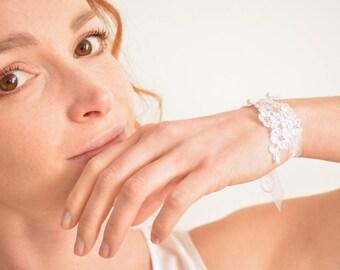 White flower lace bridal bracelet with Swarovski pearls