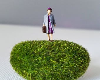 Miniature World Terrarium People Tiny Woman in Purple Dress HO Scale Hand painted One of a Kind Railroad