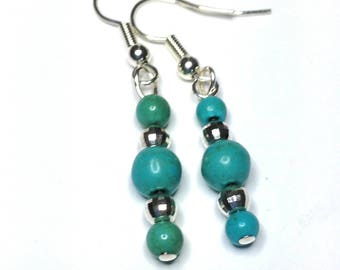 "Handmade 1 1/2"" TURQUOISE Dangle EARRINGS  Silver Accent Beads and French Wires"