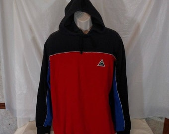 POLO RALPH LAUREN Hoodie Pullover Shirt Men Size L Vintage 90's Color Block Red Blue Black