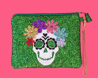 Glitter Green Sugar Skull Clutch Purse Handbag - LIMITED EDITION