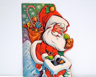 Santa Christmas Card by George Peed 1970s Vintage Santa Claus Going Down Chimney Snowflakes Toys Small Poster Plattermatter