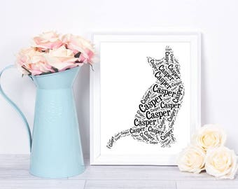 Art Print Cat Lover Gift for Her Black and White Silhouette Custom Print Wall Decor With Your Cat's Name Personalized Pet Loss Gift for Mom