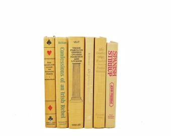 Saffron Yellow Decorative Books, Old Book Set, BUff Beige Book Decor, Instant Library, Book Collection, GIft for BOOk Lover, BOokshelf Decor