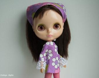 Blythe doll retro vintage style mod dress and headscarf set