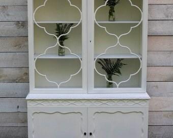 Ornate White Mahogany Hutch