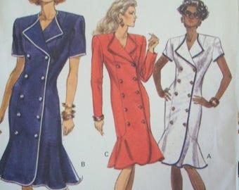 Semi-fitted, Princess Seam, Flounce Dress 1980s Vogue Pattern 7533 Sizes 6-8-10 Uncut Factory fold