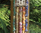 Hamsa Five Elements Amulet With Goddess And Pentacle, Gemstone Beads And Quartz Crystals, Silver Wire Wrapped, OOAK Elemental Enchantments