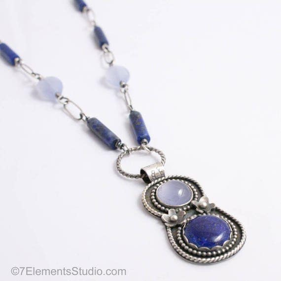 Lapis Lazuli and Chalcedony Pendant Necklace