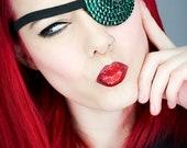 Eye Patch *Green Sparkle* - Rhinestones