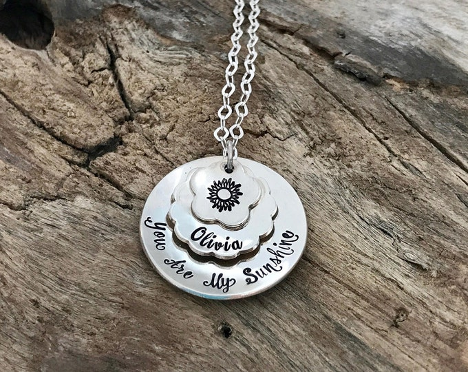 You Are My Sunshine | Sunflower Necklace | You Are My Sunshine Necklace | You Are My Sunshine Jewelry | Sterling Silver Mommy Necklace