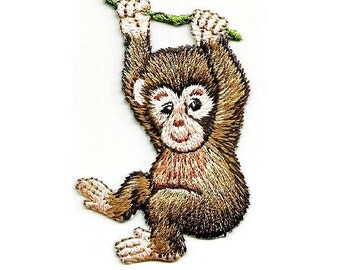 Monkey - Wild Animals - Jungle - Zoo - Embroidered Iron On Patch - L