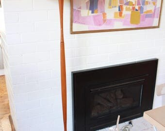 Vintage 1950s Tapered Wooden Floor lamp with Pink shade