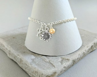 Sunflower Bracelet, Sunflower Wedding, Bridesmaid Gift, Flower Girl Gift, Bridesmaid Jewellery, Flower Girl Jewellery