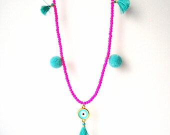evil eye necklace, protection necklace. tassel necklace, pom pom necklace, mint green necklace, fuchsia necklace, boho necklace, trends 2018