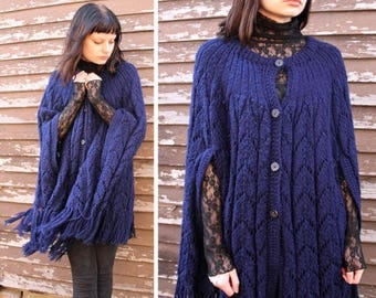 Vintage Cape FRINGED SWEATER Jacket Blanket Blue Button Up Retro Poncho Cardigan Crochet Granny Grunge Women's All Size CARDI Knit Tunic Top