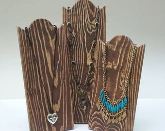 Set of 3 Necklace Stands Rustic Wood Necklace Display Distressed Brown Finish Reclaimed Wood Take Down Design for Craft Shows or Home