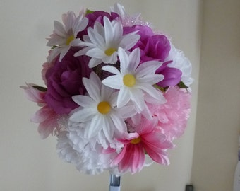 5 1/2 Inch Bouquet Pink And White Carnations & Daisies, Purple Roses, Pink Tulle With Sparkle, White Nylon Backing- for Flowergirl, Recital