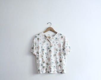 Floral 90s Button Tee