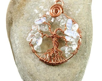 Opal tree-of-life pendant ~ Opalite necklace ~ October birthday jewelry ~ Copper tree-of-life ~ Women's amulet ~ Healing tree-of-life