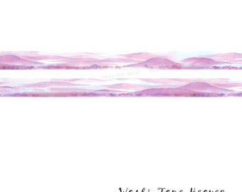 """NEW """"Purple Mountains"""" Washi Tape - 15mm x 7m - Soft Watercolor Poetic Landscape"""