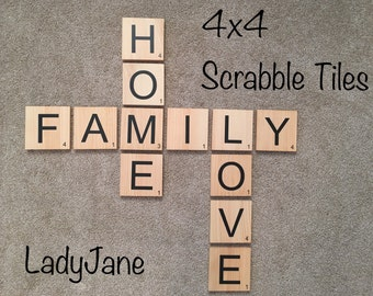 Scrabble Tiles/Scrabble Wall Art/Scrabble Letters/4x4 Wood Tiles/Scrabble Wall Tiles/Family Wall Art/Personalized Letters/Wall Gallery