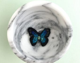 Blue Butterfly Brooch, felted pin, needle felted, butterfly jewelry, butterfly pin, felted brooch, pins, brooch pin, pins and brooches
