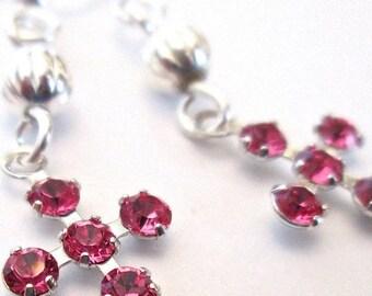 Summer Sale Girls Swarovski Cross Earrings, Pink, Clear or Tanzanite Swarovski Elements, Crystal, Pretty, Delicate Earrings