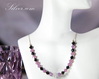 Black and Lavender Purple Sparkling Modern Crystal Beaded Collar Necklace, Purple Casual Swarovski Crystal Collar Necklace Gift for Her