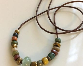 Leather Necklace  Boho Necklace  Short Beaded Leather Necklace