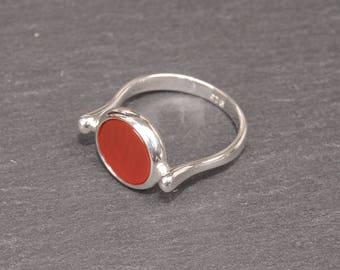 Carnelian Silver Ring - Sterling Silver 925 - Carnelian Gemstone - Elegant Ring - Handmade Jewelry - Authentic Carnelian - Minimalist Ring