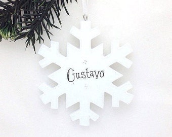 Snowflake Personalized Christmas Ornament / Elegant Snowflake / Gift under 20
