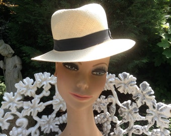 1950s Vintage Panama Straw Hat Fedora Style by Bailey Size SM