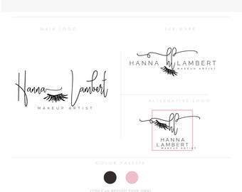 makeup artist logo 3 makeup artist brush eye initials businesscards simple modern feminine branding- logo Identity for artist makeup wedding