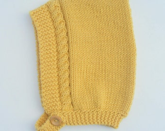 Cable Knit Pixie Hat in Mustard Yellow