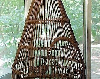 Antique Bird Cage, Woven Metal to Simulate Bamboo, Late 1800's Chinese