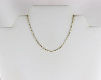 14K Yellow Gold Rope Chain Necklace 16 inch chain Diamond Cut